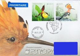 Estonia Estland Estonie 2021 (09) Europa – Endangered National Wildlife – Lady's-slipper Orchid – Eurasian Hoopoe (fdc) - Estonia