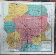 XL 1940 Grand Plan Carte En Couleur En Toile De Papier De Tourcoing Bondues Mouvaux Roubaix Nord Metropole Lilloise - Carte Geographique