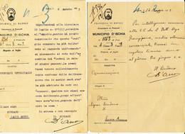 1922 /23 ISCHIA ISOLA D'ISCHAI 2 LETTERE SU CARTA INTESTATA ARALDICA A FIRMA SINDACO  0,40 E 0,50 MICHETTI ISOLATI - Marcofilie