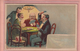 OLD 1900'S LITHO HOLD TO LIGHT POSTCARD - PLAYING CARDS - COUPLE IN LOVE IN BACKGROUND - Controluce