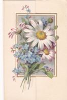 Fête : Anniversaire : Télégramme De Bonheur : à Système - 3 Volets - Pliante : Fleurs - Marguerite : 12,5cm X 8cm - Cumpleaños