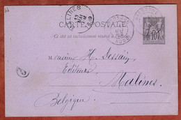 P 8 Allegorie, Narbonne Nach Malines 1889 (4446) - Cartes Postales Types Et TSC (avant 1995)