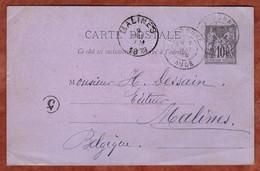 P 8 Allegorie, Narbonne Nach Malines 1889 (4447) - Cartes Postales Types Et TSC (avant 1995)