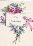 Fête : Anniversaire : Bon Anniversaire - Pliante - En 4 Volets : Fleurs - Roses - Myosotis : 11,5cm X 8,5cm : 5 BG 2 1F - Cumpleaños