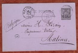 P 8 Allegorie, Narbonne Nach Malines 1889 (4449) - Cartes Postales Types Et TSC (avant 1995)