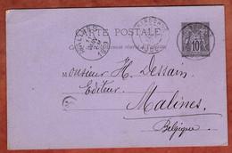 P 8 Allegorie, Narbonne Nach Malines 1889 (4450) - Cartes Postales Types Et TSC (avant 1995)