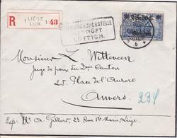 Belgique - COB OC 9 Sur Lettre Recommandée De Liège à Anvers - 11/10/1915 - Voir Desc. - [OC1/25] Gen.reg.