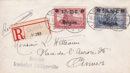 Belgique - COB OC 8 + 9 Sur Lettre Recommandée De Givet à Anvers - 13/05/1915 - Voir Desc. - [OC1/25] Gouv. Gén.