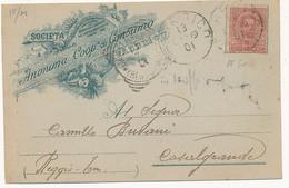 1901 FABBRICO CERCHIO GRANDE SU CARTOLINA PUBBLICITARIA SOCIETA' ANONIMA DI CONSUMO - Marcofilía