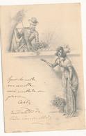 1901 BOLOGNA CARTOLINA GALANTE - FLOREALE - Marcofilía