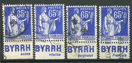 """21702 FRANCE N°365°(243) 65c. Type Paix : """"Byrrh"""" Anime, Vitalise, Guignolet, Français  1937  B/TB - Pubblicitari"""