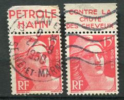 """21709 FRANCE N°813°(257) 15F Marianne De Gandon : Pétrole""""Hahn"""", Contre La Chute Des Cheveux  1937  B/TB - Publicidad"""