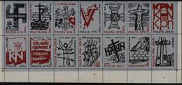 POLAND SOLIDARNOSC SOLIDARITY 1989 KPN POLISH MONTHS 1939-89 SET OF 14 SILVER STRIPS T2 Barbed Wire Warsaw Uprising WW2 - Vignette Solidarnosc