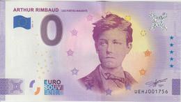 Billet Touristique 0 Euro Souvenir France 37 Arthur Rimbaud 2021-6 N°UEHJ001756 - Prove Private