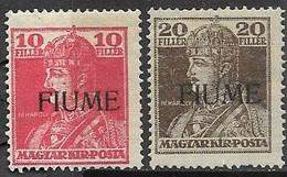 Fiume 1918  Sc#21-2  Overprints  MH   2016 Scott Value $7.25 - Fiume