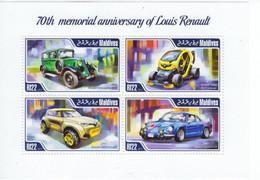 70eme Anniversaire De LOUIS RENAULT - Primaquatre-Twizy-KWID-Renault Alpine A110  - Maldives 2014 4v Sheet MNH/Neuf/Mint - Auto's