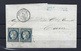 Frankreich Mi.4a Paar Auf Brief 5.10.1852 Aus Bordeaux Nach Caen Kat.150,-€ - 1849-1850 Ceres