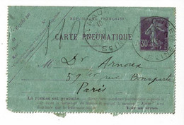 Carte Lettre Pneumatique Pour Paris - Entier Postal N° Yvert 305 - Circ 1914 Depuis St Maurice, Voir Cachets Différents - 1877-1920: Periodo Semi Moderno