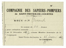 Compagnie Des Sapeurs-Pompiers De Saint Trivier De Courtes (01) - Reçu Pour Cotisation Annuelle - 1947 - Cartes De Visite