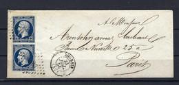 Frankreich Senkrechtes Paar Mi.13Ic Auf Brief Aus Roubaix Nach Paris 24.7.1856 Kat.150,-€ - 1853-1860 Napoleon III