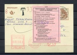 1995 Gelopen Briefkaart 15 Fr  8301 KNOKKE HEIST 2 - Met T 33 Rode Machine TAX Frankering F 33 + Vignet 143B Retour (gew - Cartoline [1951-..]