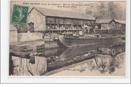 PORT ARTHUR : Quai Du Transporteur Aérien De La Sucrerie D'Ecly (batellerie) - Très Bon état - Other Municipalities
