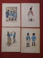 Lot 4 Gravures JOB Tenues Des Troupes De France Régiment Suisse Sapeurs Musiciens ...... - Documents