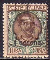 DALMAZIA 1921 1922 SOPRASTAMPATO D'ITALIA ITALY OVERPRINTED 1 CORONA SU 1 LIRA USATO USED OBLITERE' - Dalmatia
