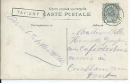 Fantasiekaart Met OCB 81 - Stationsstempel TAVIGNY - 1893-1907 Wappen