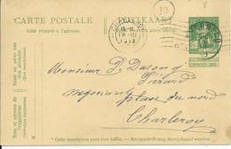 5c-postkaart - Afstempeling EVERBECQ- COBA 15 - 1912 Pellens