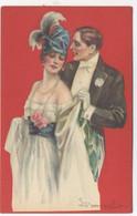 ILLUSTRATEUR - S. BOMPARD - ART DECO -  GLAMOUR - FASHION - Couple Amoureux élégant Collier Perles - Bompard, S.