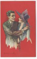 ILLUSTRATEUR - S. BOMPARD - ART DECO -  GLAMOUR - FASHION - Couple Amoureux Chapeau Fleurs - Bompard, S.