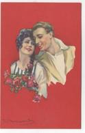 ILLUSTRATEUR - S. BOMPARD - ART DECO -  GLAMOUR - FASHION - Couple Amoureux  Fleurs - Bompard, S.