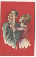 ILLUSTRATEUR - S. BOMPARD - ART DECO -  GLAMOUR - FASHION - Couple Amoureux élégant Yeux Cachés - Bompard, S.