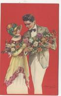 ILLUSTRATEUR - S. BOMPARD - ART DECO -  GLAMOUR - FASHION - Couple Amoureux élégant Fleurs - Bompard, S.