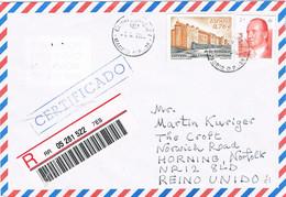 40512. Carta Certificada MADRID 2000 A Horning, England. Label, Viñeta Arabe Al Dorso - 1991-00 Covers