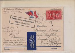 PREMIERE LIAISON AERIENNE DIRECTE PARIS-CAYENNE-1949-RECTOUR A L'ENVOYEUR.- NON RECLAME.- RECTO/VARSO. - Air Post