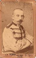 Photo-carte. Capitaine Adjudant-major Malréas Du 1er Régiment De Tirailleurs Algériens, Photo A. Leroux, Alger, 1898 - Guerra, Militari