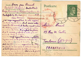 ENTIER STO ALLEMAGNE BIELEFELD ADRESSE A TOULOUSE - Oorlog 1939-45