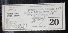 PERMIS De PECHE Liège 1942 - Documents Of Postal Services