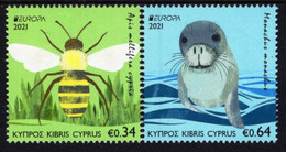 Cyprus - 2021 - Europa CEPT - Endangered National Wildlife - Honey Bee And Monk Seal - Mint Stamp Set - Nuovi