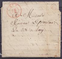 """L. Càd HUY /22 FEV 1831 (centre Décallé D'un Quart De Tour) Pour E/V - Boîte """"C"""" (état Moyen) - 1830-1849 (Independent Belgium)"""