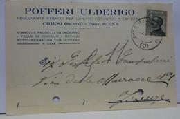 CHIUSI  -- SIENA  -- POFFERI  ULDERICO -- NEGOZIANTE STRACCI PER LANIFICI - Siena
