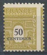 D - [204761]TB//**/Mnh-c:30e-France N° 704e-var, 50c Jaune-olive, Ceres, Sans Gomme Mais Variété: Piquage à Cheval, Cote - Variedades: 1945-49 Nuevos