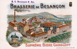 """Carte """"Brasserie De BESANCON, Suprème Bière Gangloff"""". Couleurs Litho. TB état. 2 Scan. - Besancon"""