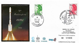 France Conseil D'Europe 1989  10 Anniv Lancement Ariane , 1  Enveloppe - Europa