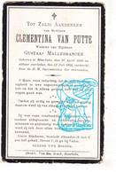 DP Clementina Van Putte ° Moerbeke Geraardsbergen 1846 † 1913 X Gustaaf Mallebrancke Malbrancke - Santini