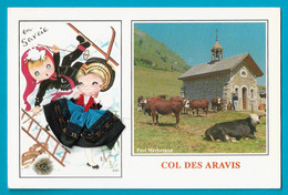Carte Brodée Fantaisie Folklore En Savoie Col Des Aravis - Borduurwerk