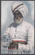 INDIA, A KHITMATGHAR Khitmagar, Khitmutghar, Khnnotghar Indian Butler / Waiter - Tuck's Postcard - India