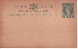 MALAYA  STRAITS SETTLEMENTS   Ganzsache Postkarte  Postal Stationary  Postcard One Cent  Ungebraucht  Unused - Straits Settlements